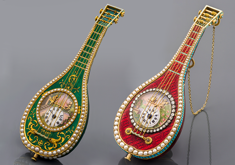 Лот №223 и 222: Piguet & Meylan The Neapolitan Green Mandolin и The Neapolitan Red Scarlet Mandolin, около 1820 г.в.