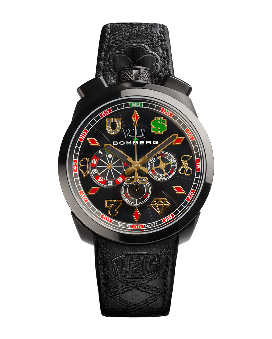Bomberg Bolt-68 Jet Black With Bright Gambler`s Icons