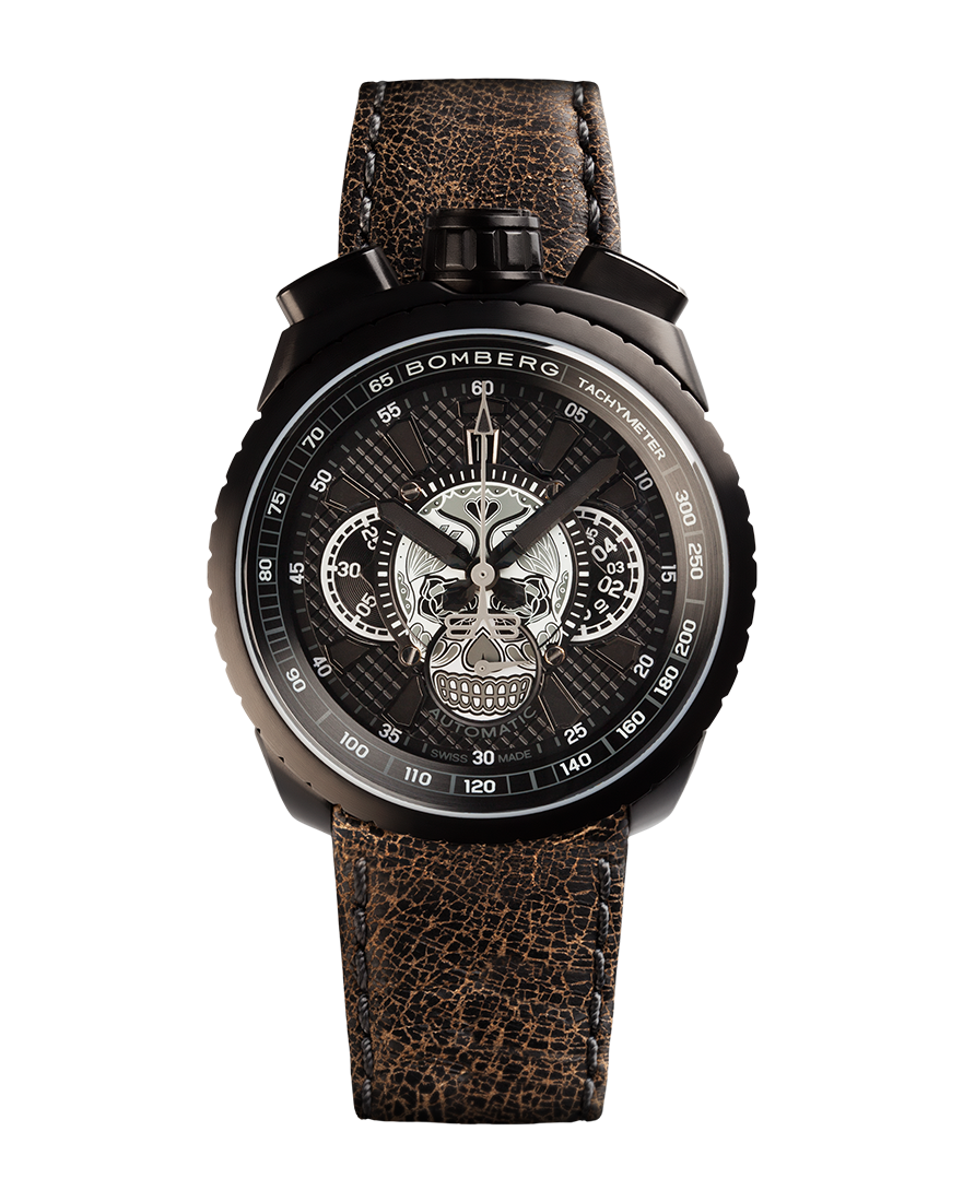 Bomberg Bolt-68 Skull Black & White Automatic Chronograph