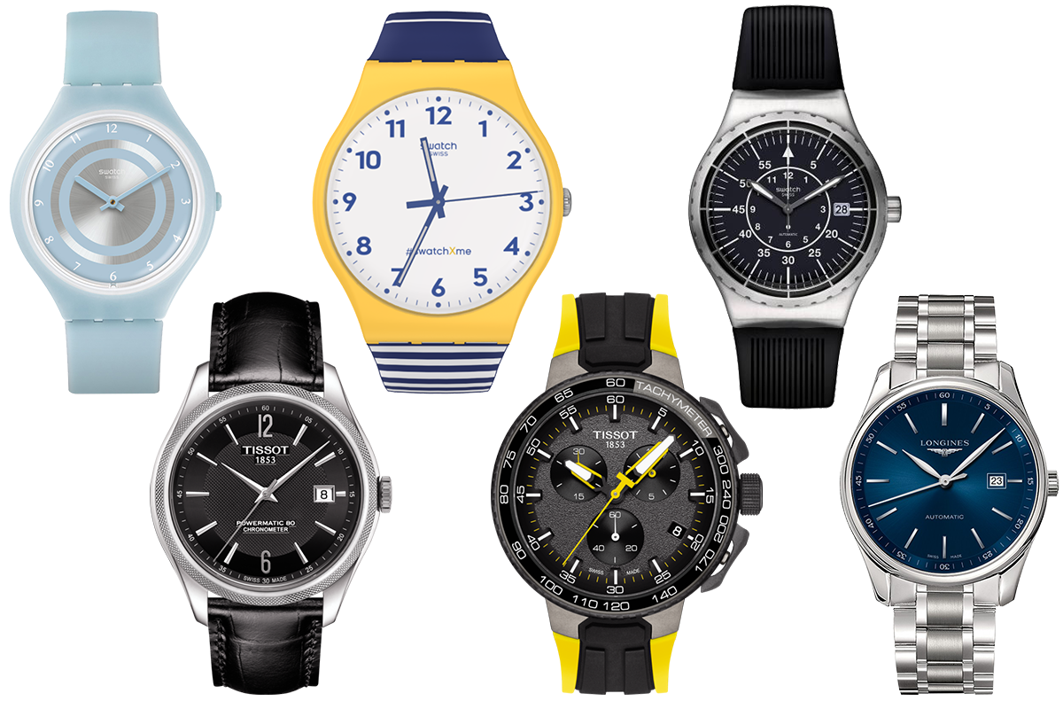 Swatch New Skin, Swatch X You, Swatch Sistem51 Irony, Tissot Ballade Silicium, Tissot T-Race Cycling, Longines Master Collection Blue