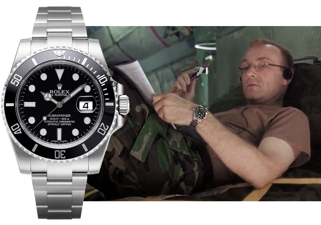 "Кадр из кинофильма ""Эпидемия"" (1995), часы Rolex Submariner. Изображения: Punch Productions, inc. Warner Bros. Pictures, пресс-служба Rolex"
