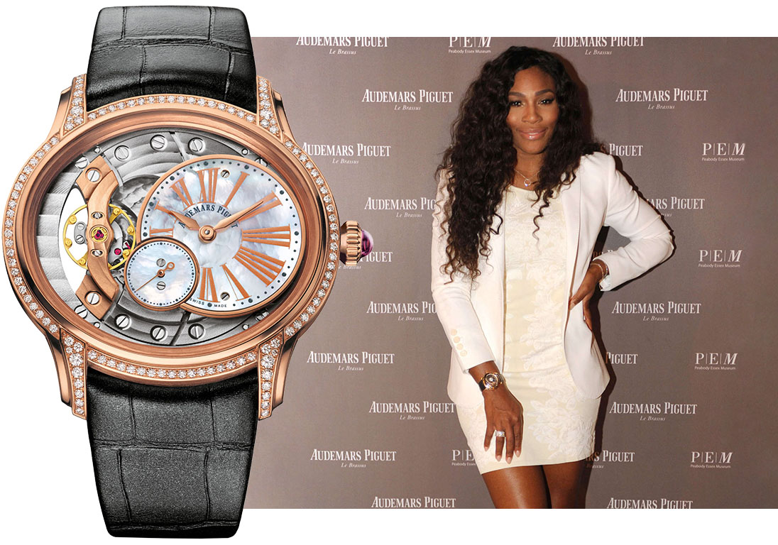 Серена Уильямс в часах Audemars Piguet Millenary Ladies Rose Gold. Изображения: blog.crownandcaliber.com, пресс-служба Audemars Piguet