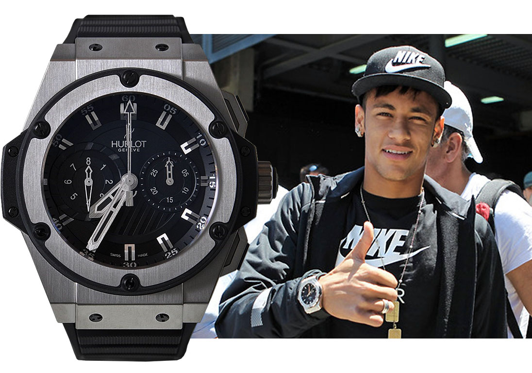 Неймар в часах Hublot King Power Foudroyante. Изображения: neymar-football.net