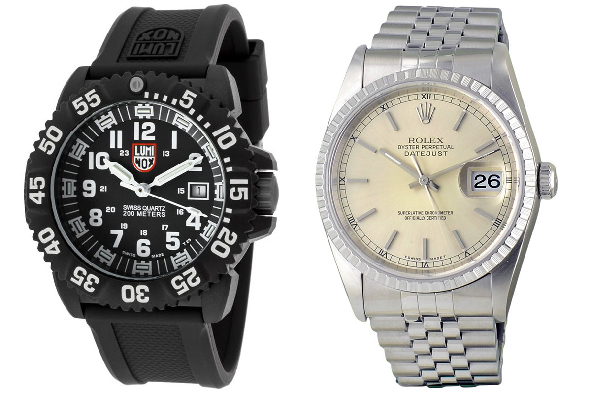 Luminox EVO Navy Seal Colormark Diver's Military Watch XS.3051, Rolex Oyster Perpetual Datejust Ref. 16220