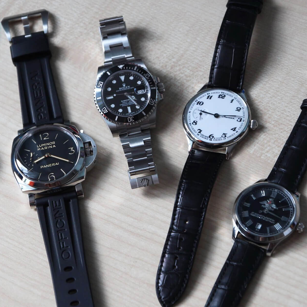 "Officine Panerai Luminor Marina, Rolex Submariner, ""Молния"", ""Полет"""