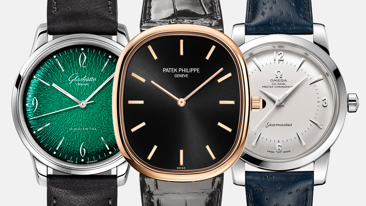 Vintage Classics – Baselworld 2018: Glashutte Original Sixties Panorama Date, Patek Philippe Golden Ellipse Ref. 5738R, Omega Seamaster 1948 Cantral Second