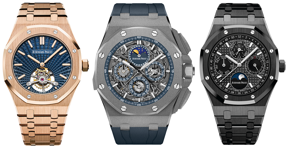 Audemars Piguet Royal Oak Tourbillon Extra Thin (2018), Audemars Piguet Royal Oak Offshore Grande Complication (2017), Audemars Piguet Royal Oak Perpetual Calendar (2017)