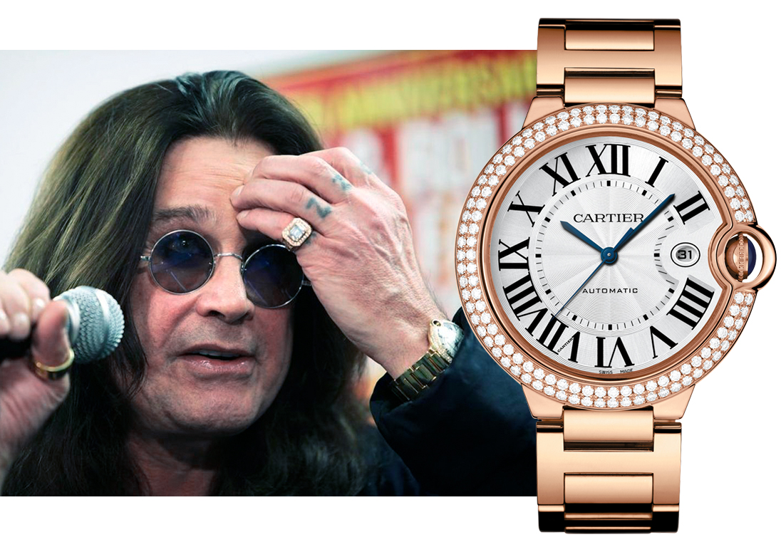 Оззи Осборн (Ozzy Osborn) в часах Cartier Ballon Bleu de Cartier