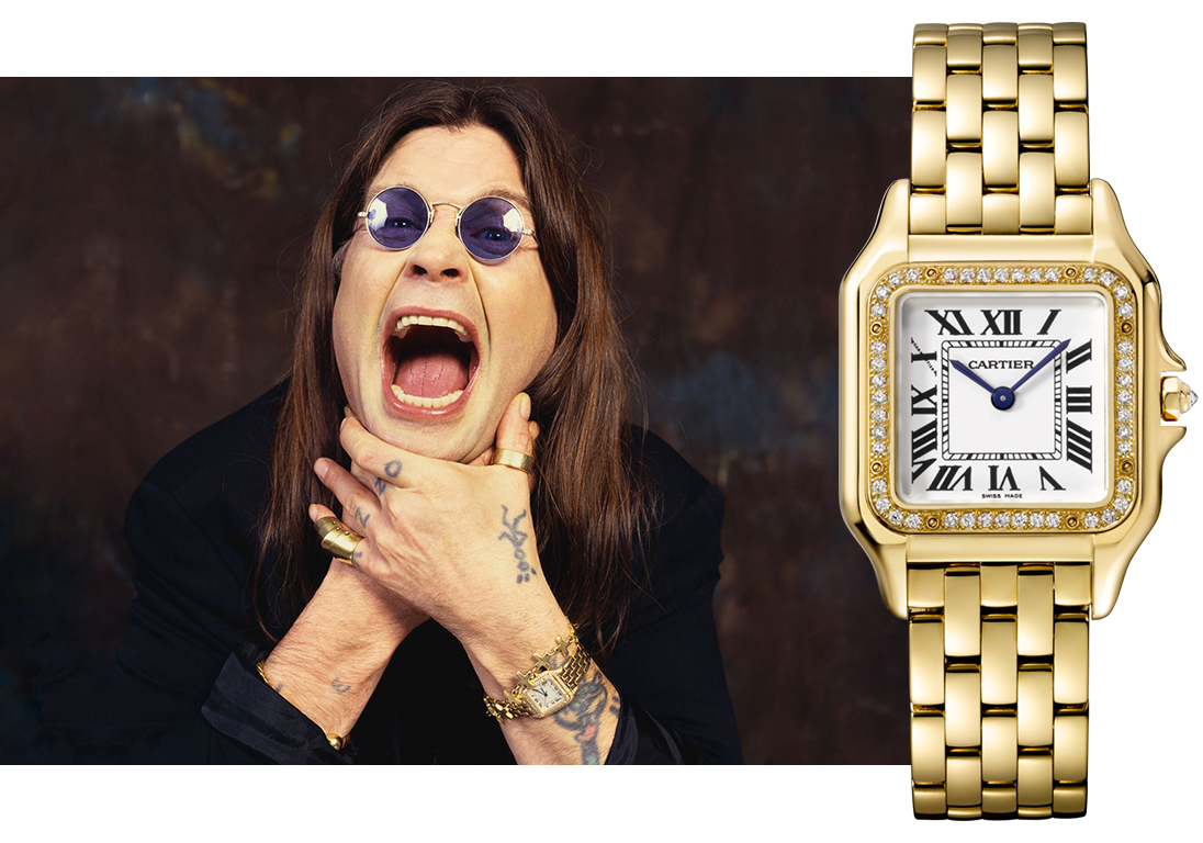 Оззи Осборн (Ozzy Osborn) в часах Cartier Panthère Medium Ref. WJPN0016