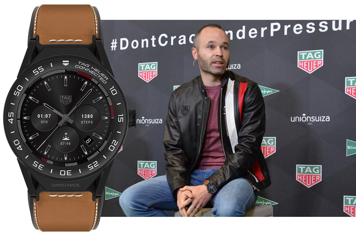 Андрес Иньеста в часах Tag Heuer Connected Modular 45