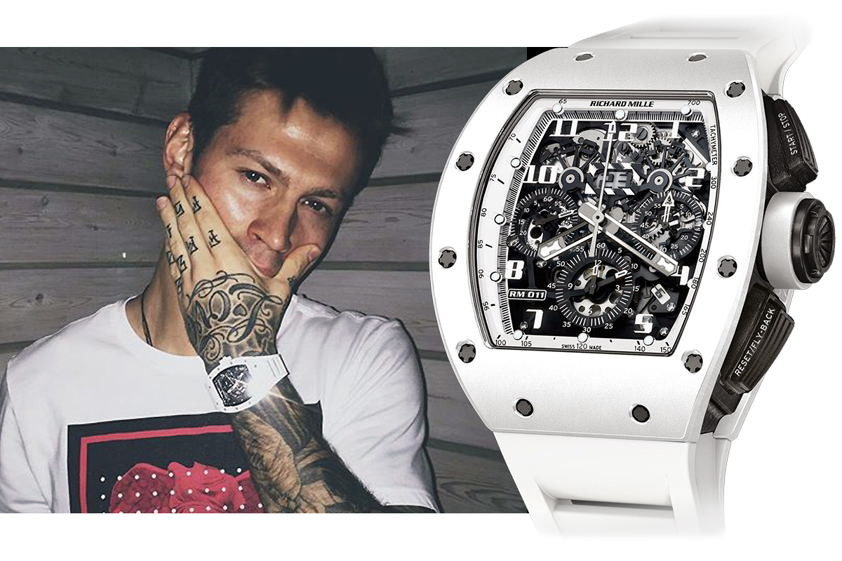 Федор Смолов в часах Richard Mille RM 011 Flyback Chronograph White Ghost