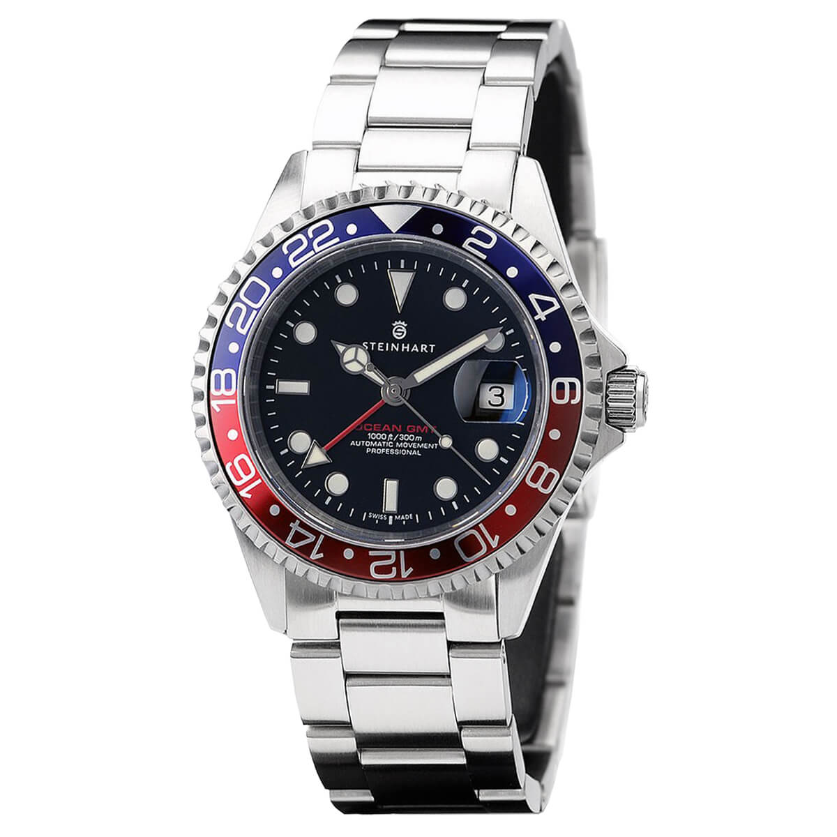 Steinhart Watches Ocean One GMT Blue Red
