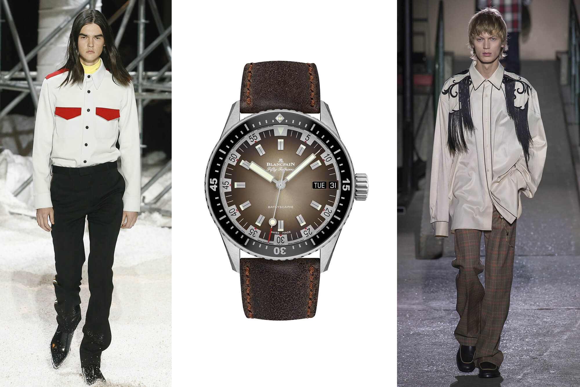 Осень — Зима' 2018: Calvin Klein, Dries Van Noten. Часы Blancpain Fifty Fathoms Bathyscaphe Day Date 70s