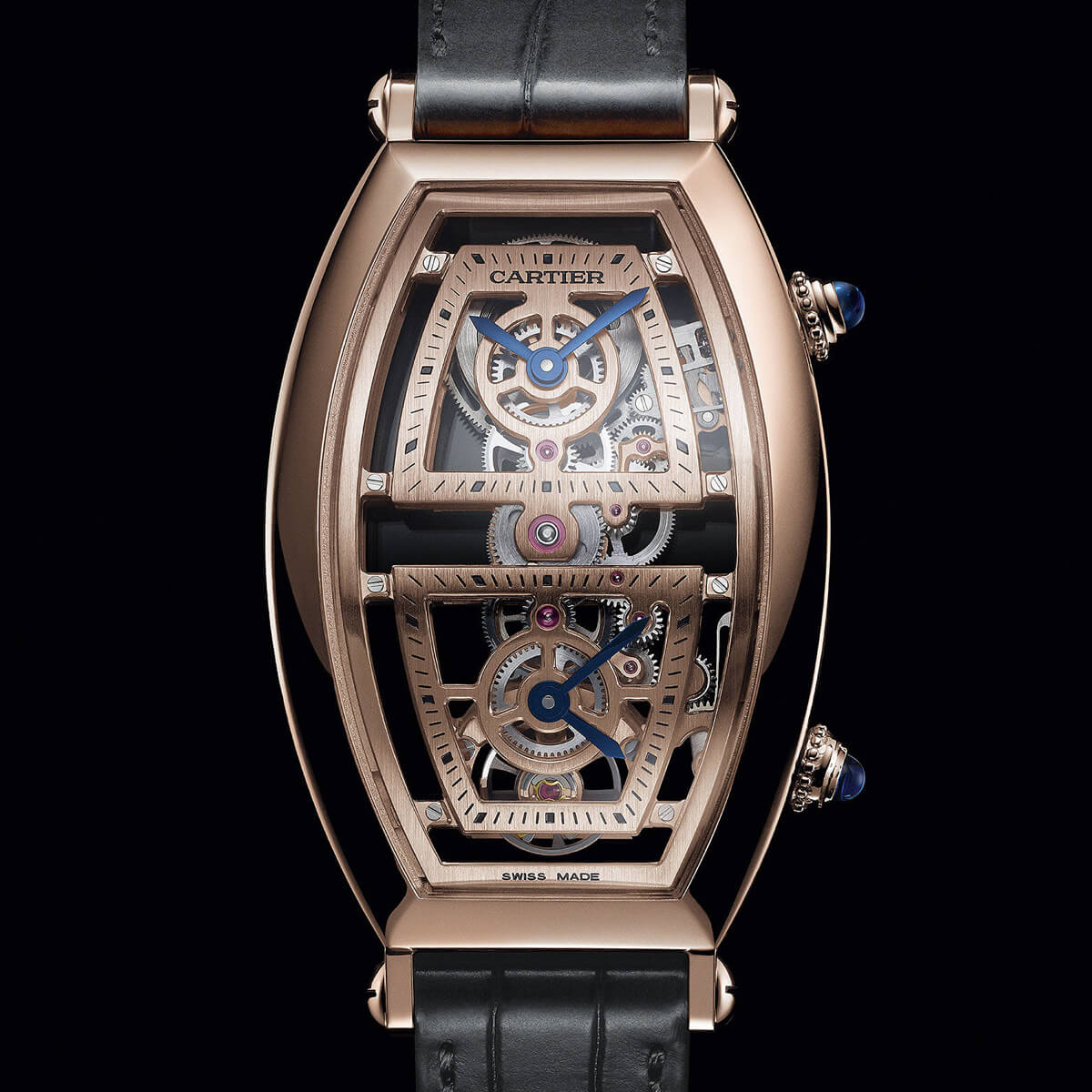 Cartier Privé Tonneau XL Skeleton Dual Time Rose gold
