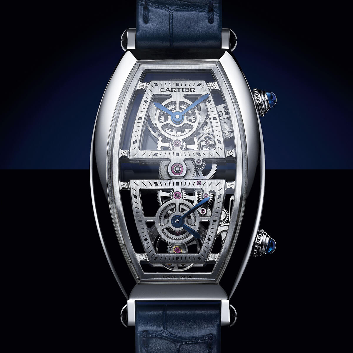 Cartier Privé Tonneau XL Skeleton Dual Time Platinum