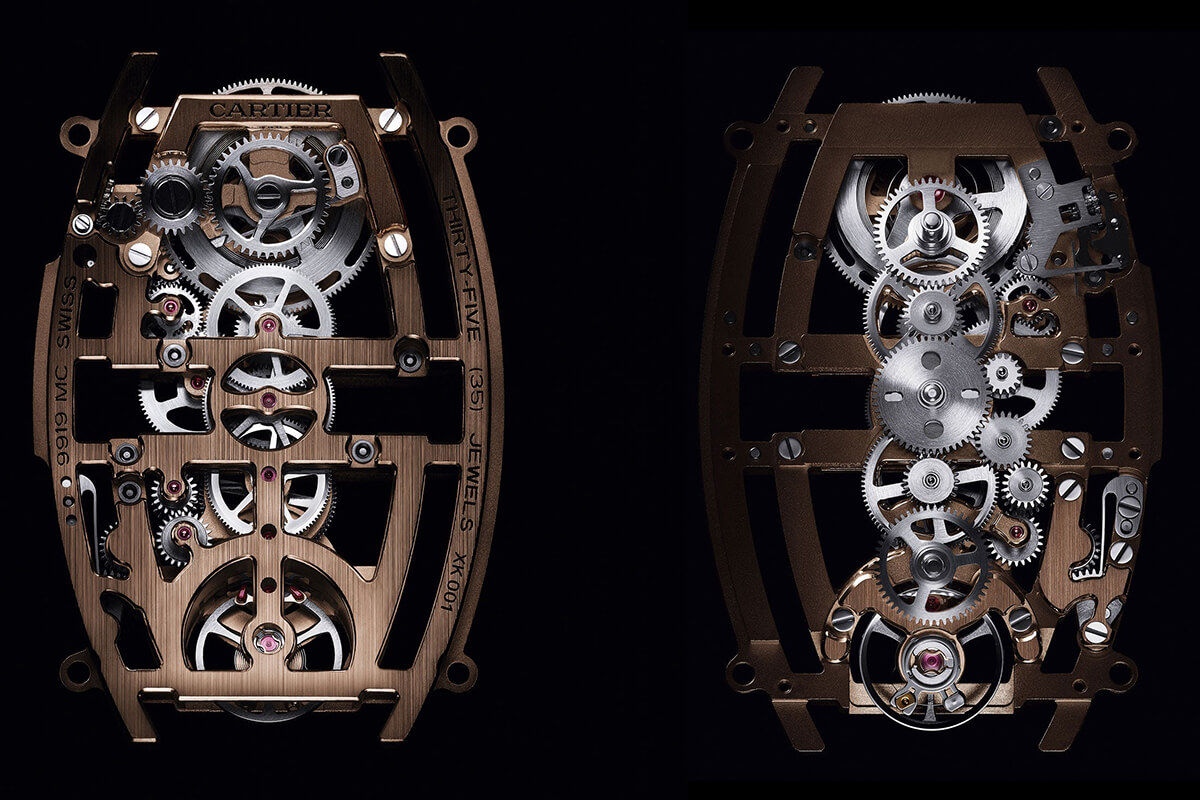 Caliber 9919 MC в часах Cartier Privé Tonneau XL Skeleton Dual Time —