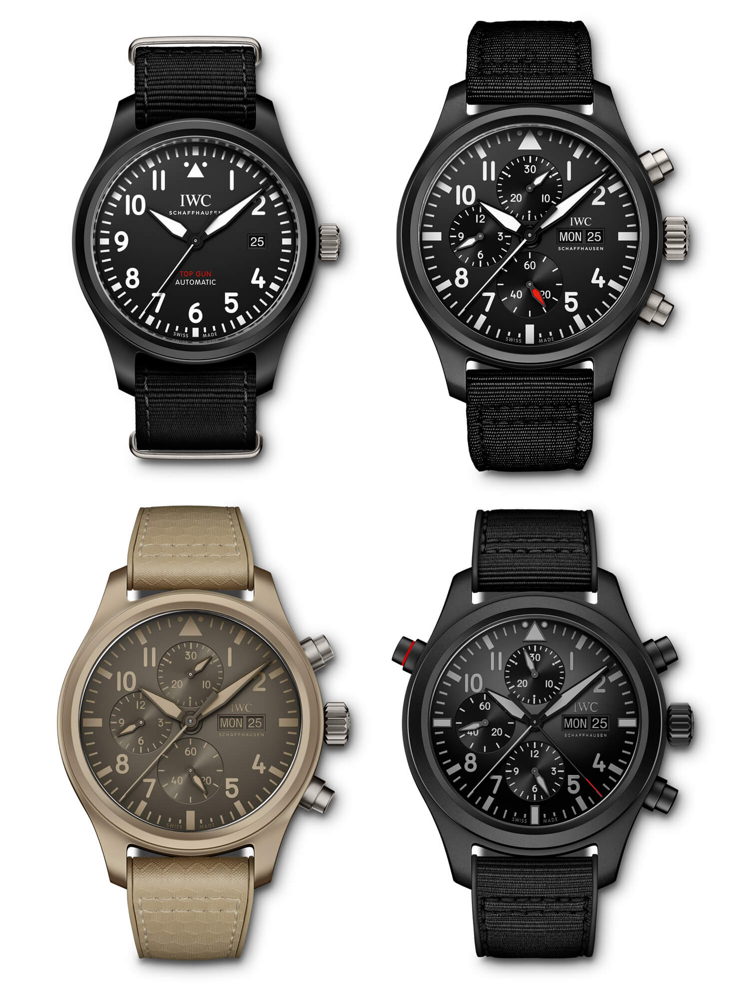 "IWC Pilot's Watch Automatic TOP GUN IW326901, IWC Pilot's Watch Chronograph TOP GUN IW389101, IWC Pilot's Watch Chronograph TOP GUN Edition ""Mojave Desert"" IW389103, IWC Pilot's Watch Double Chronograph TOP GUN Ceratanium IW371815"